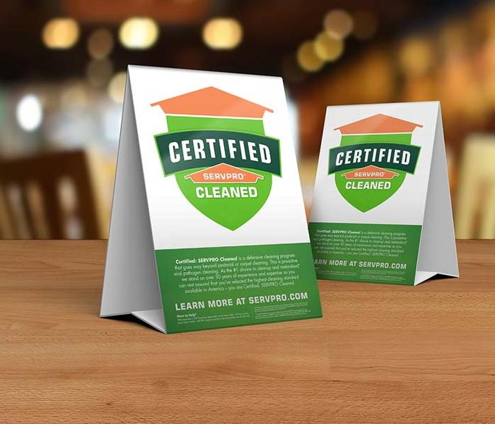 Certified: SERVPRO Cleaned Table Top Stands